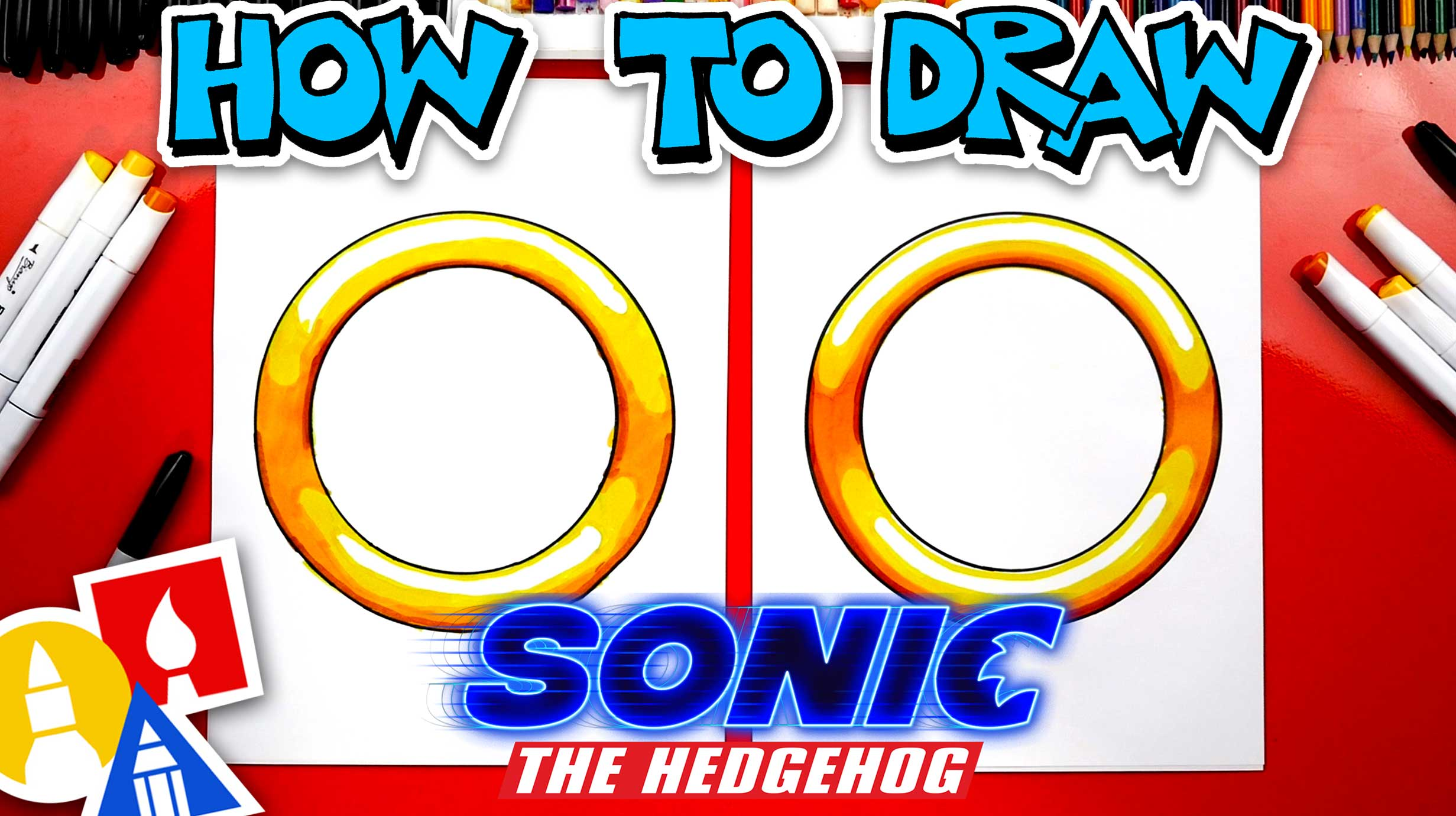 How To Draw A Ring From Sonic The Hedgehog Movie Art For Kids Hub