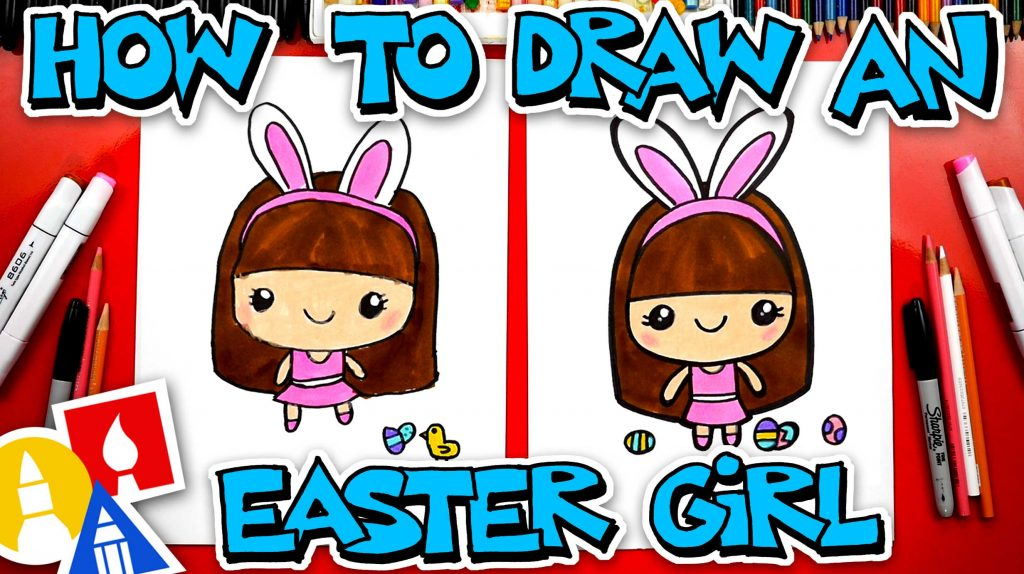 How To Draw A Cute Easter Girl Cartoon