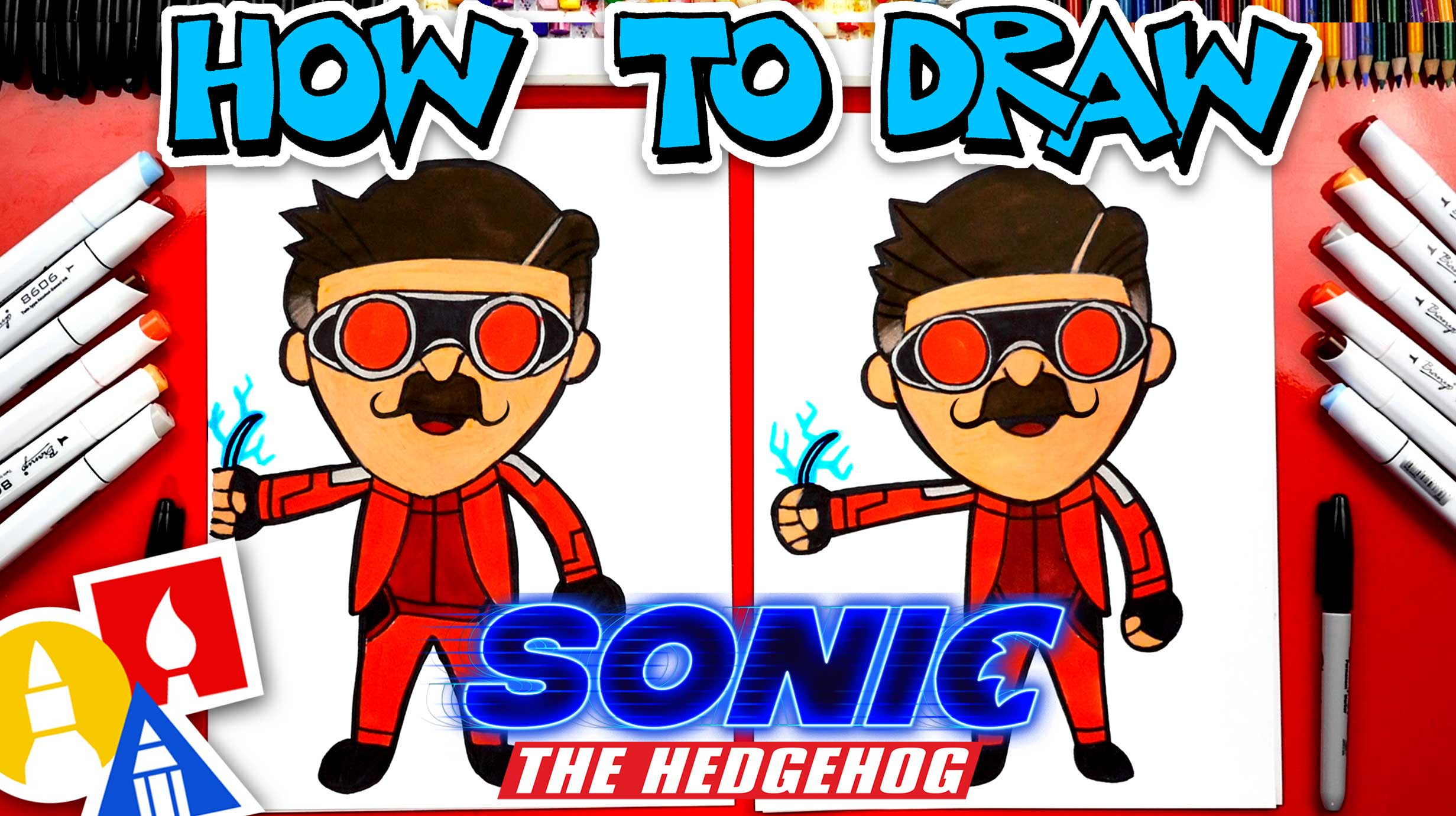 How To Draw Dr Robotnik From Sonic The Hedgehog Movie Art For Kids Hub