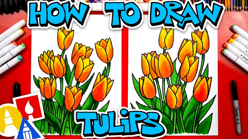 How To Draw Spring Tulips