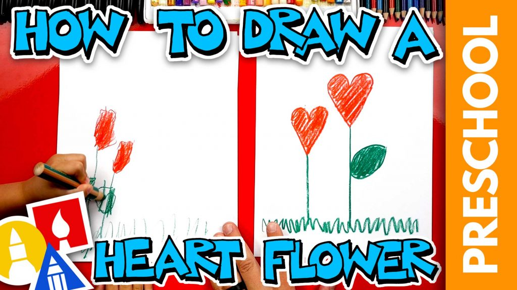 Drawing A Heart Flower For Mother's Day – Preschool