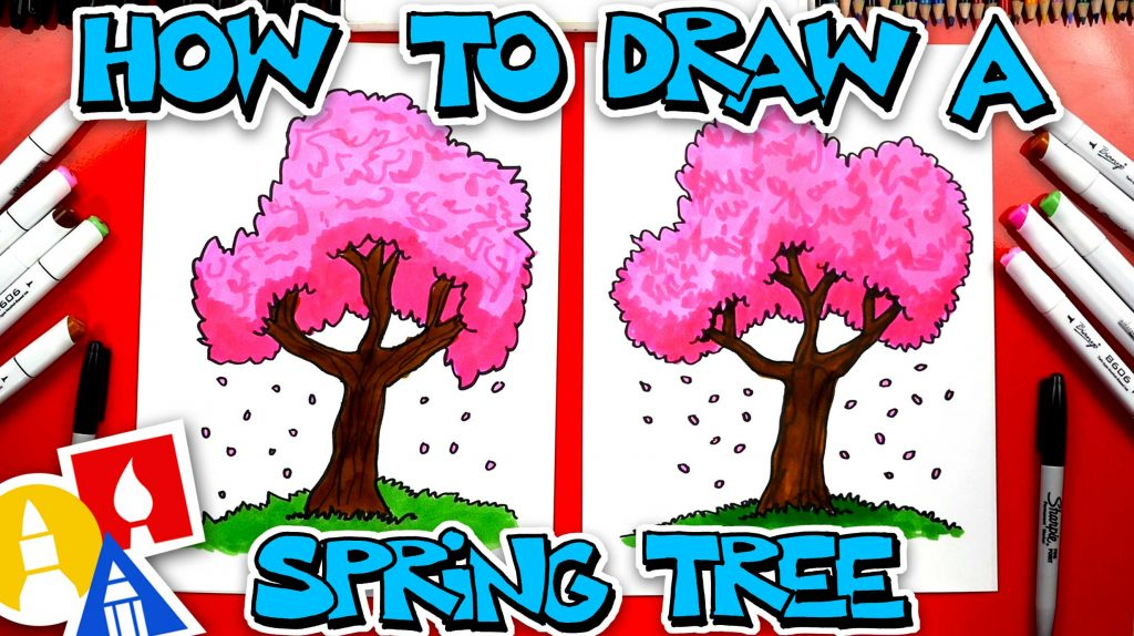 How To Draw A Cherry Blossom Spring Tree