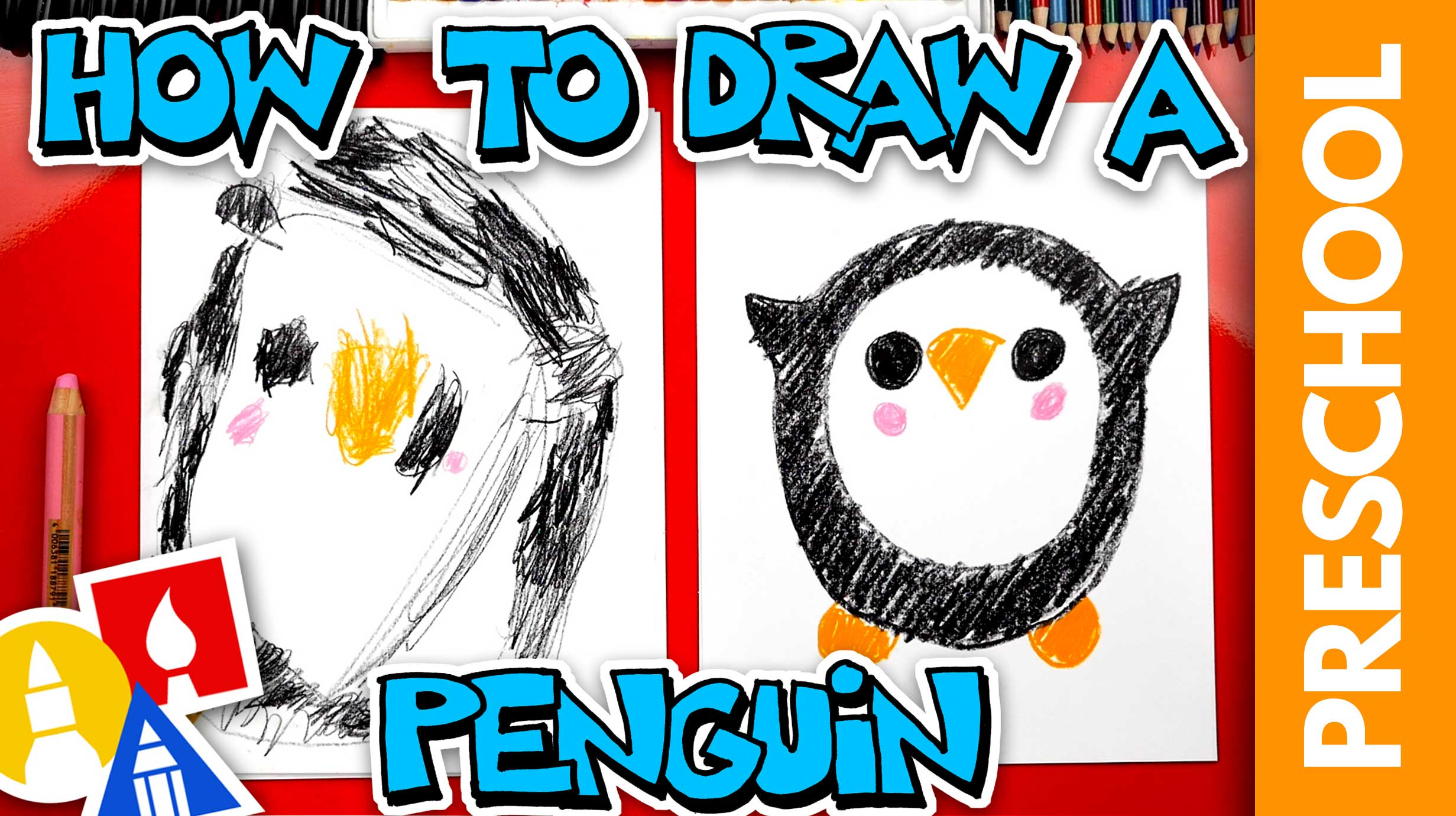 Drawing A Penguin With Shapes - Preschool - Art For Kids Hub