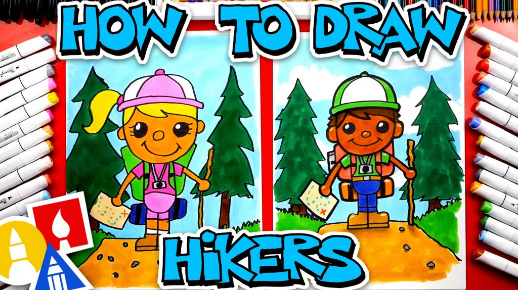 How To Draw A Person Hiking (Backpacking)