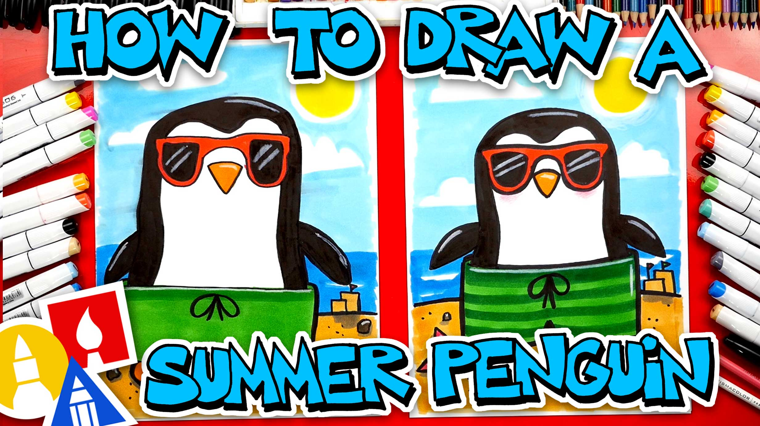 How To Draw A Summer Penguin Wearing Sunglasses And A Swimsuit - Art For Kids Hub