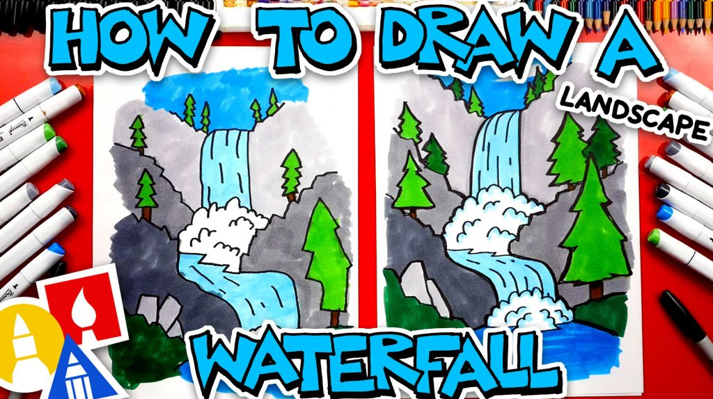 How To Draw A Waterfall Landscape