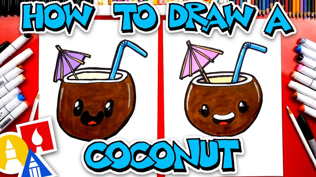How To Draw A Funny Summer Coconut Drink