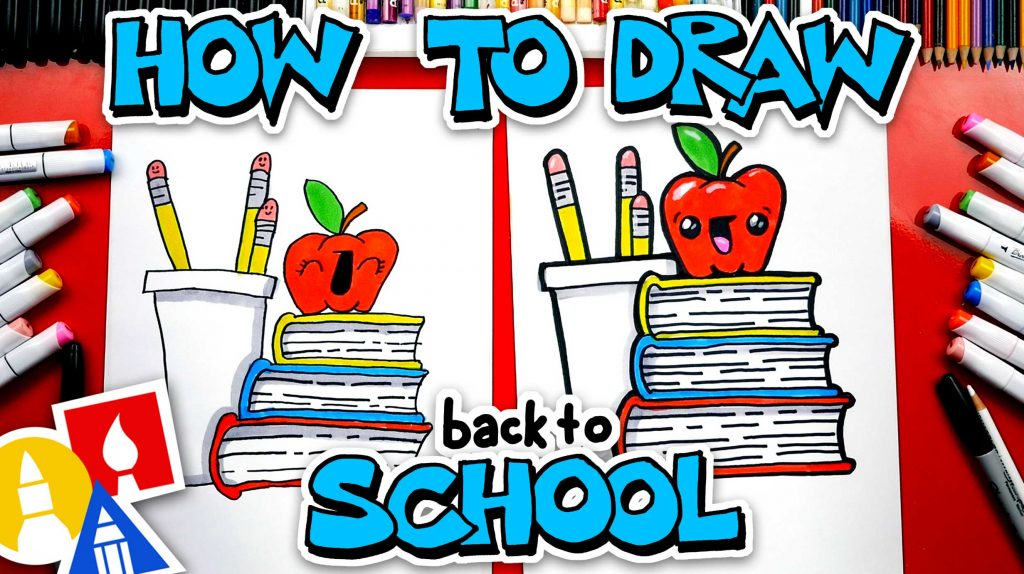Back To School! How To Draw A Stack Of Books