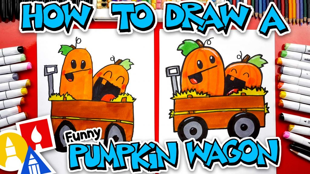 How To Draw A Funny Pumpkin Wagon