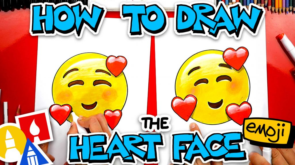 How To Draw The Heart Face Emoji