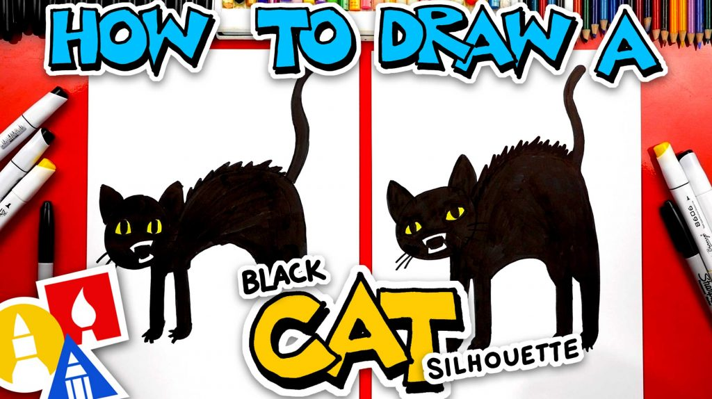 How To Draw A Black Cat Silhouette For Halloween