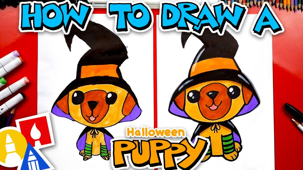 How To Draw A Halloween Puppy Witch