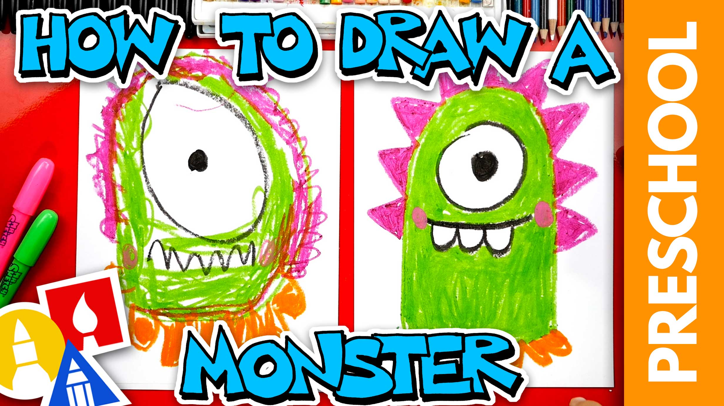 How To Draw A Funny Monster - Preschool - Art For Kids Hub