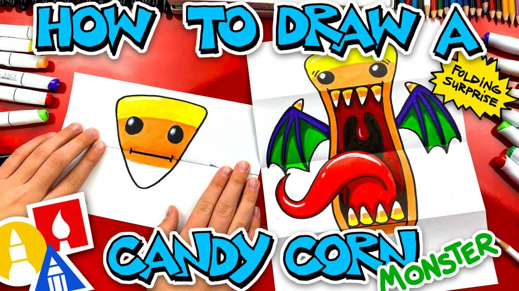 How To Draw A Candy Corn Monster Folding Surprise