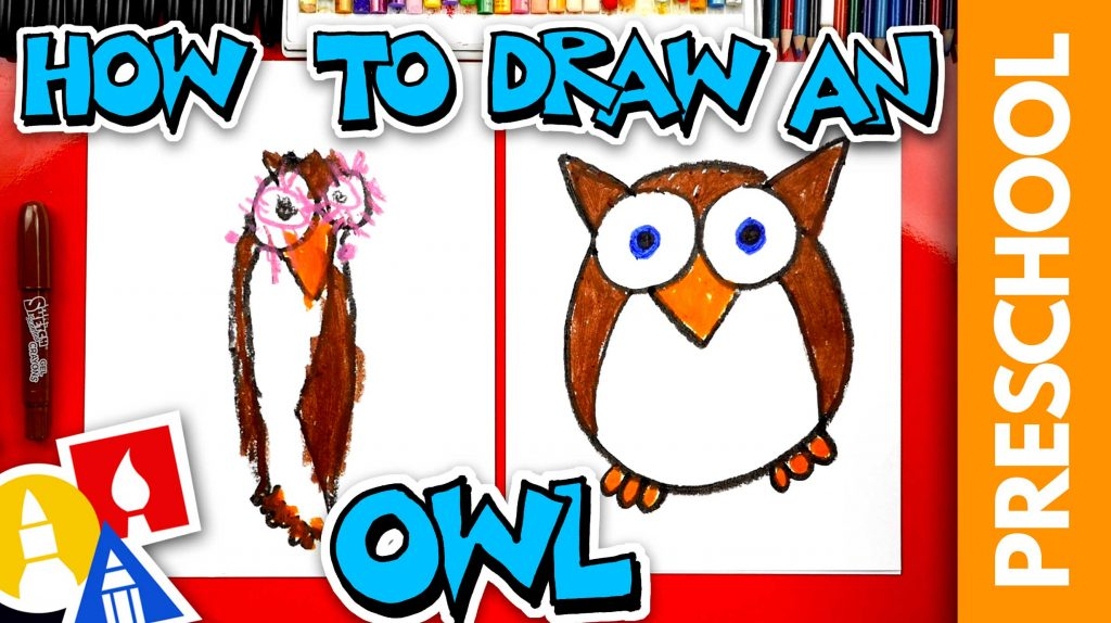 How To Draw A Funny Cartoon Owl – Preschool