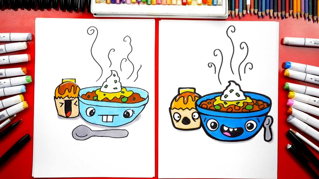 How To Draw A Funny Bowl Of Chili