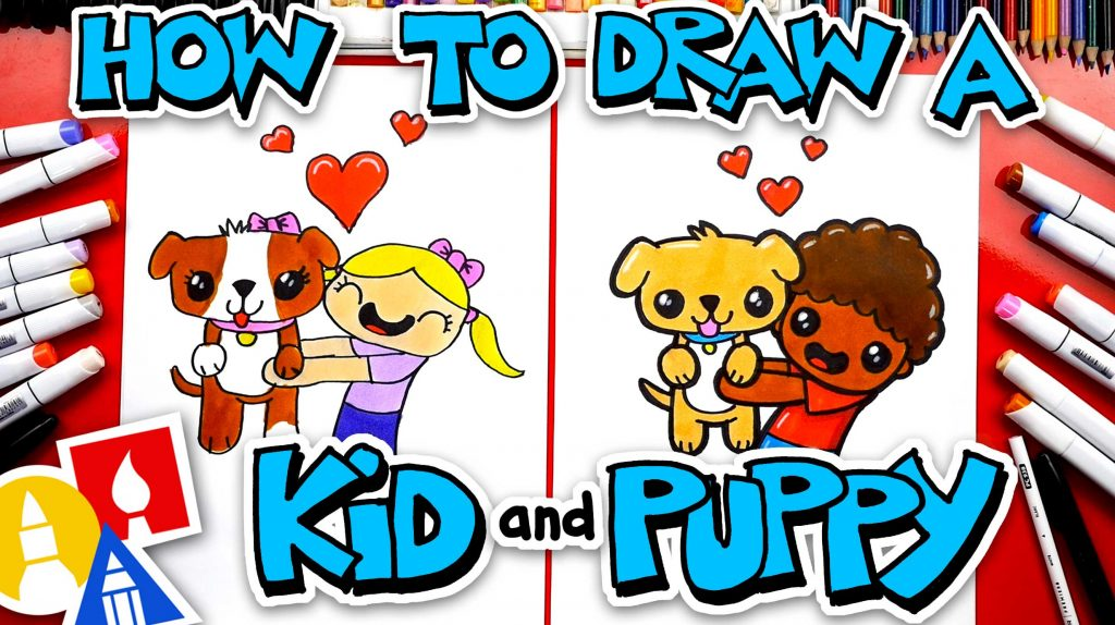 How To Draw A Kid Hugging A Puppy