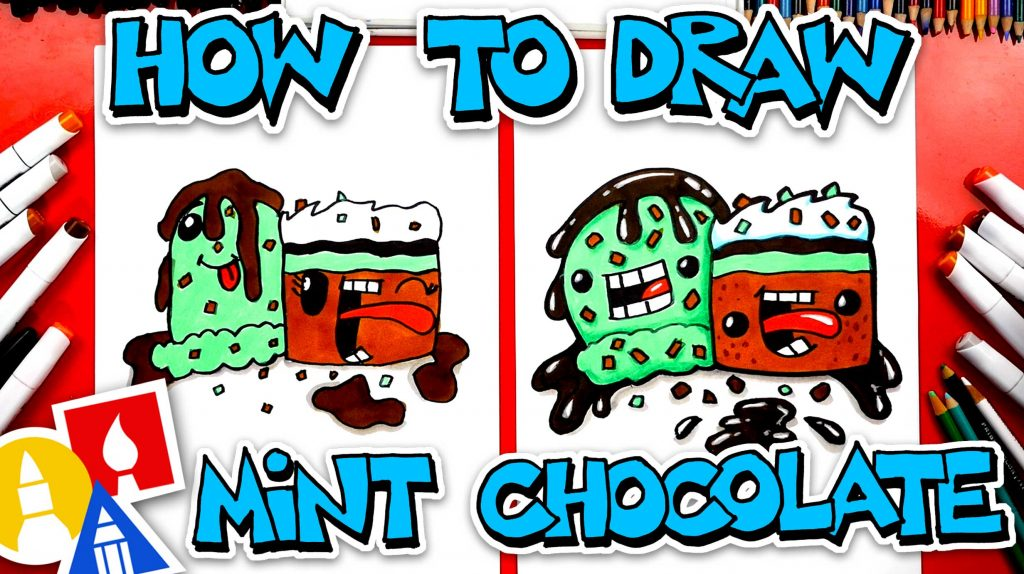 How To Draw Funny Mint Chocolate Chip Ice Cream And Brownie