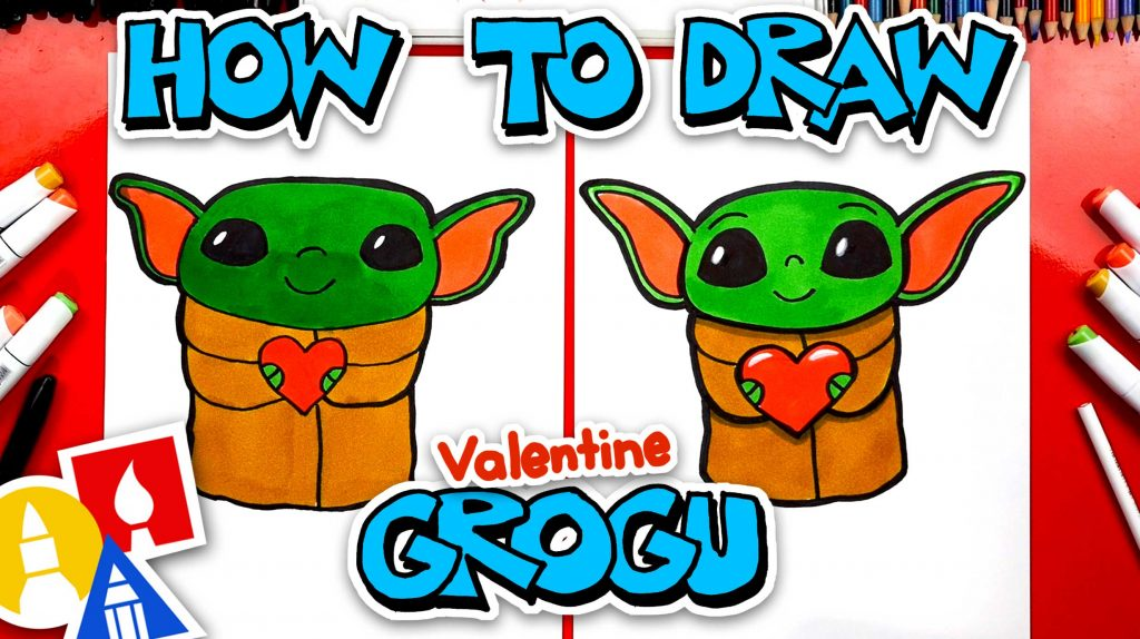 How To Draw Valentine's Baby Yoda (Grogu)