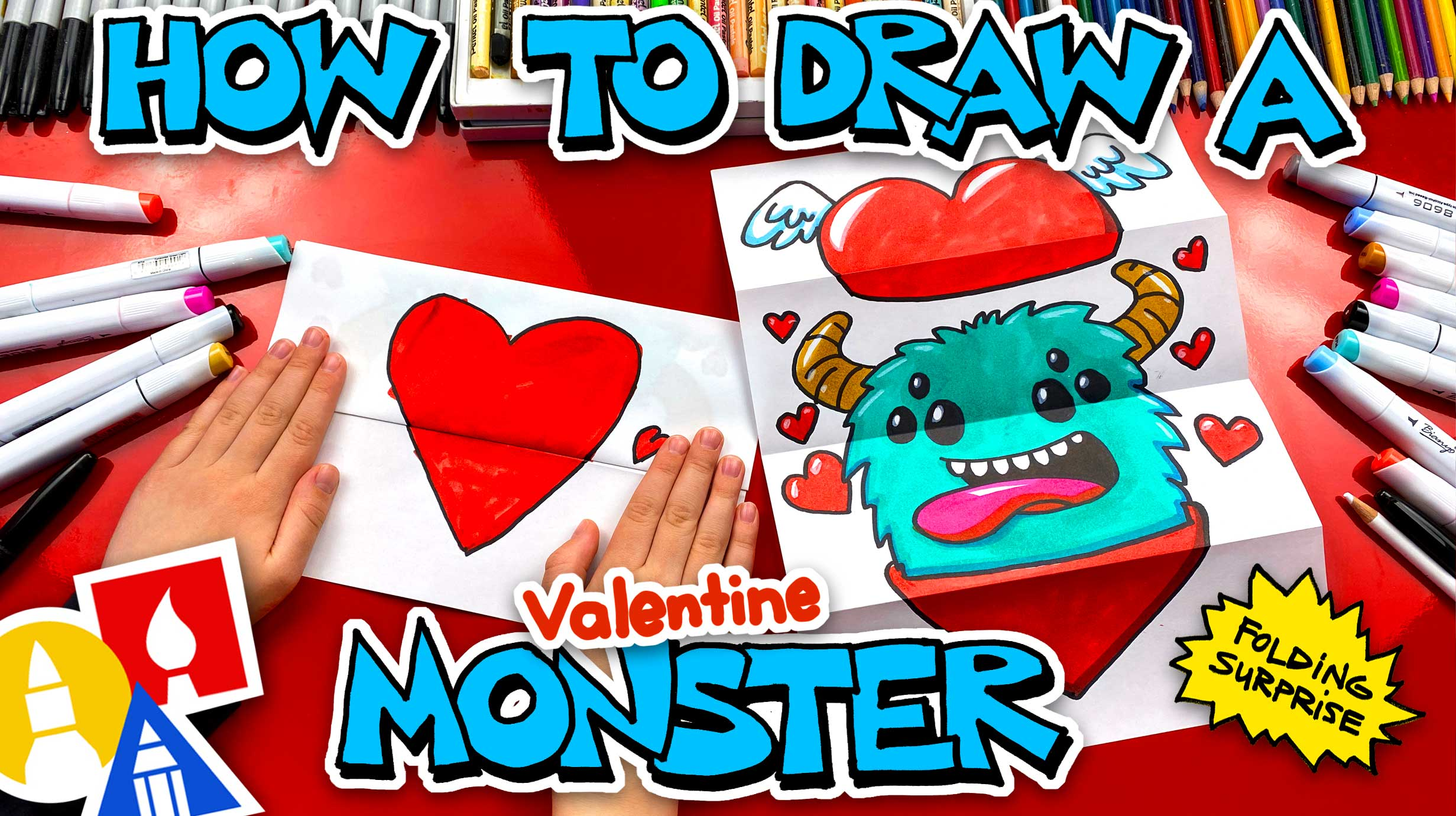 How To Draw A Valentine's Monster - Folding Surprise