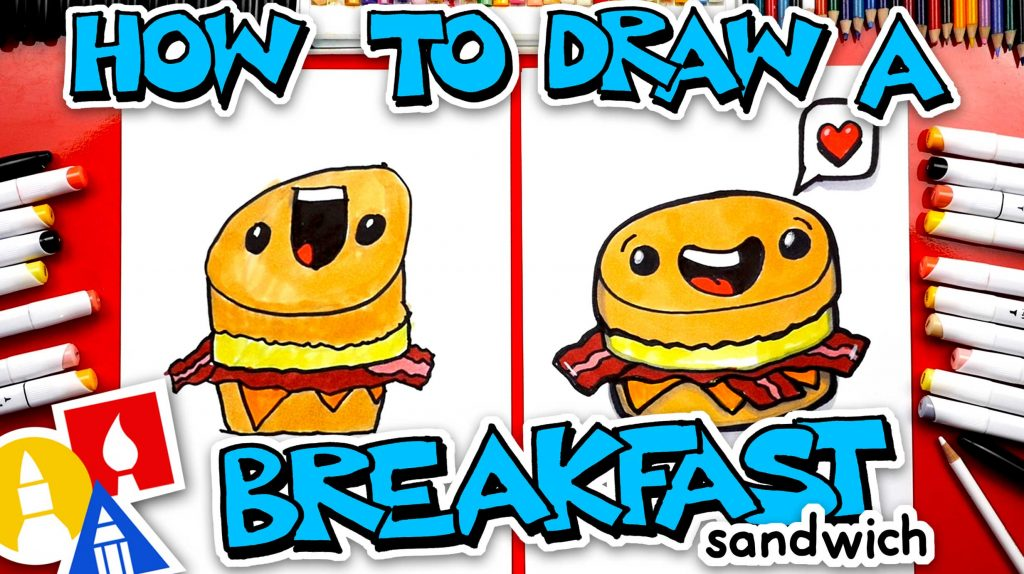 How To Draw A Funny Breakfast Sandwich