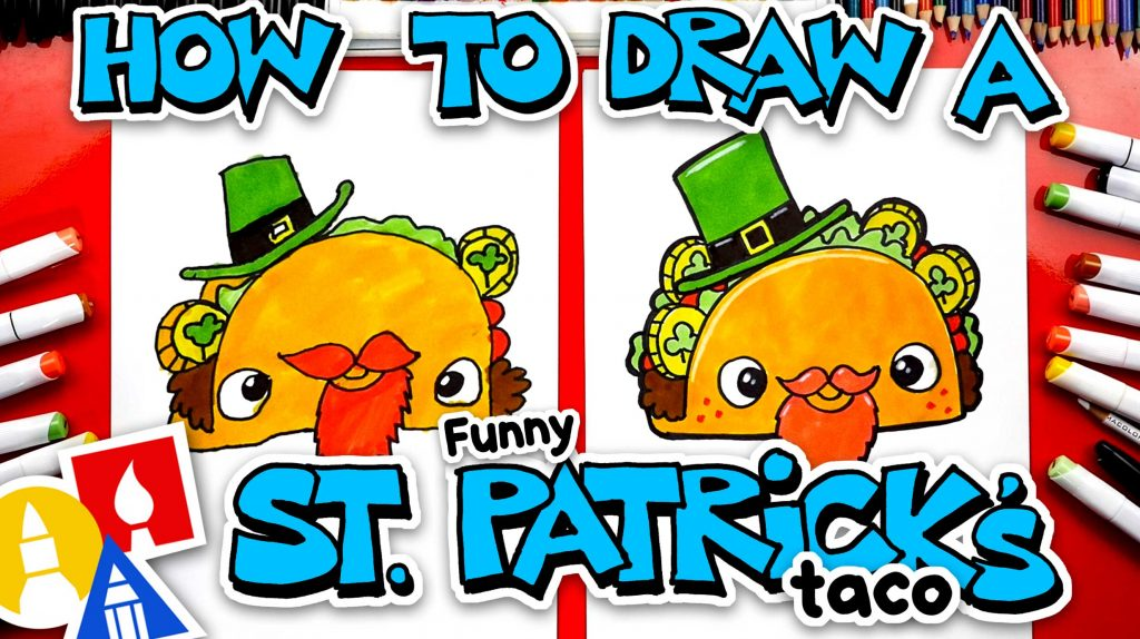 How To Draw A Funny St. Patrick's Taco