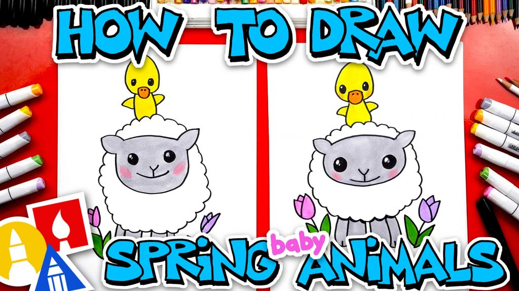 How To Draw A Spring Lamb And Duckling