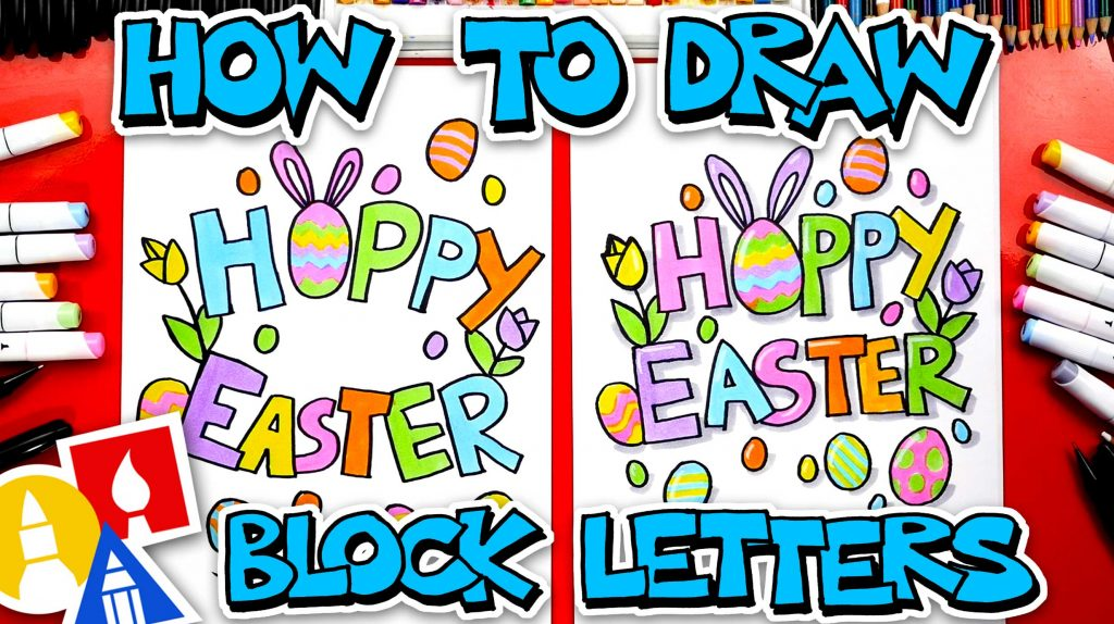 How To Draw Happy Easter In Block Letters
