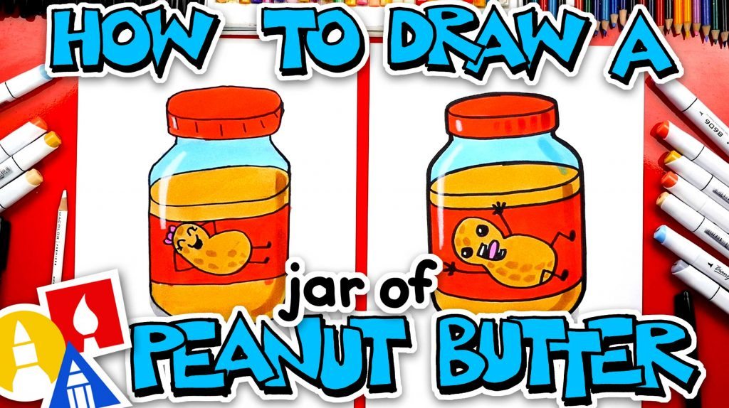 How To Draw A Funny Jar Of Peanut Butter
