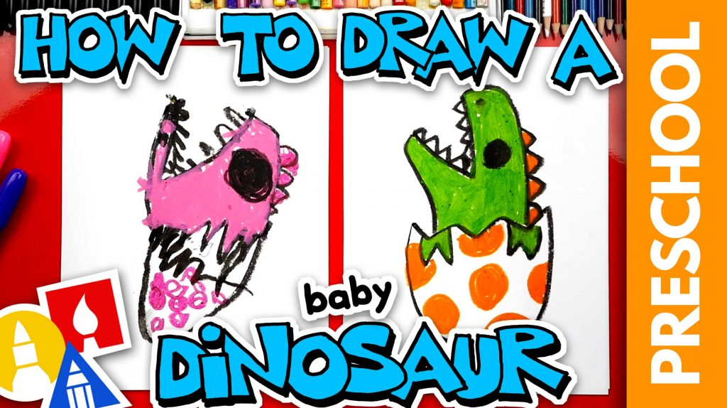 How To Draw A Baby Dinosaur Hatching From An Egg – Preschool