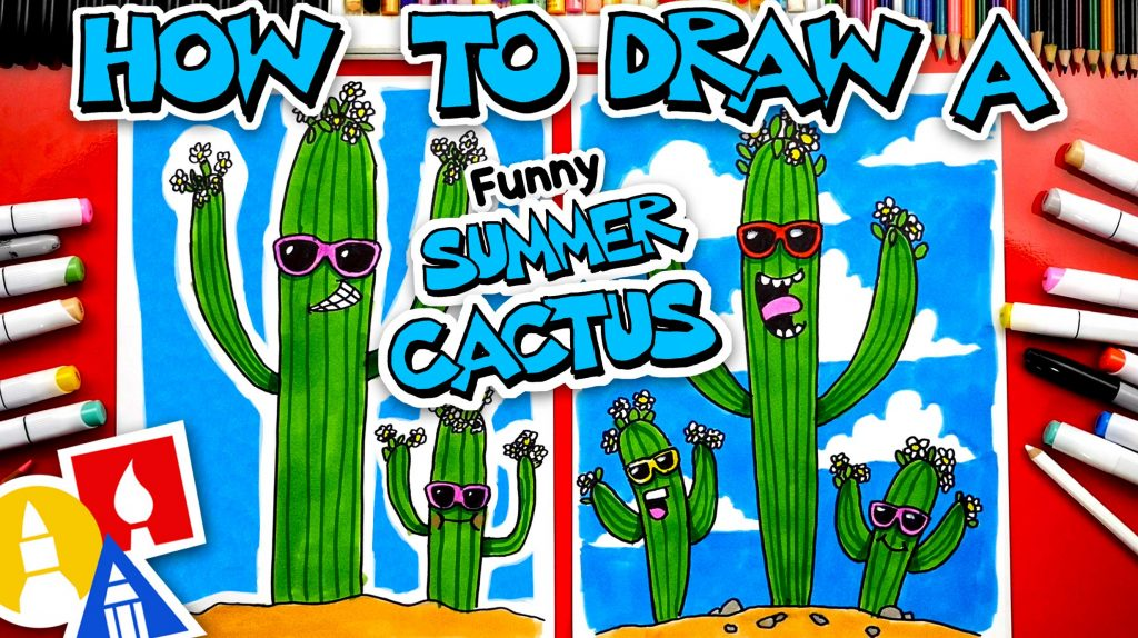 How To Draw A Funny Summer Cactus Or Saguaro