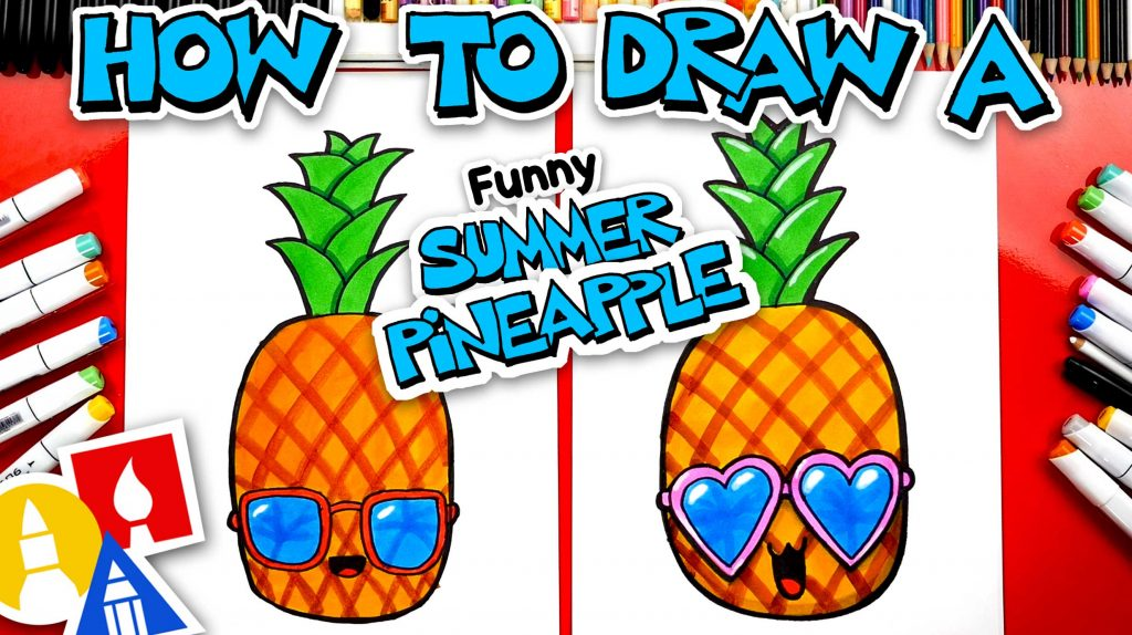 How To Draw A Funny Summer Pineapple