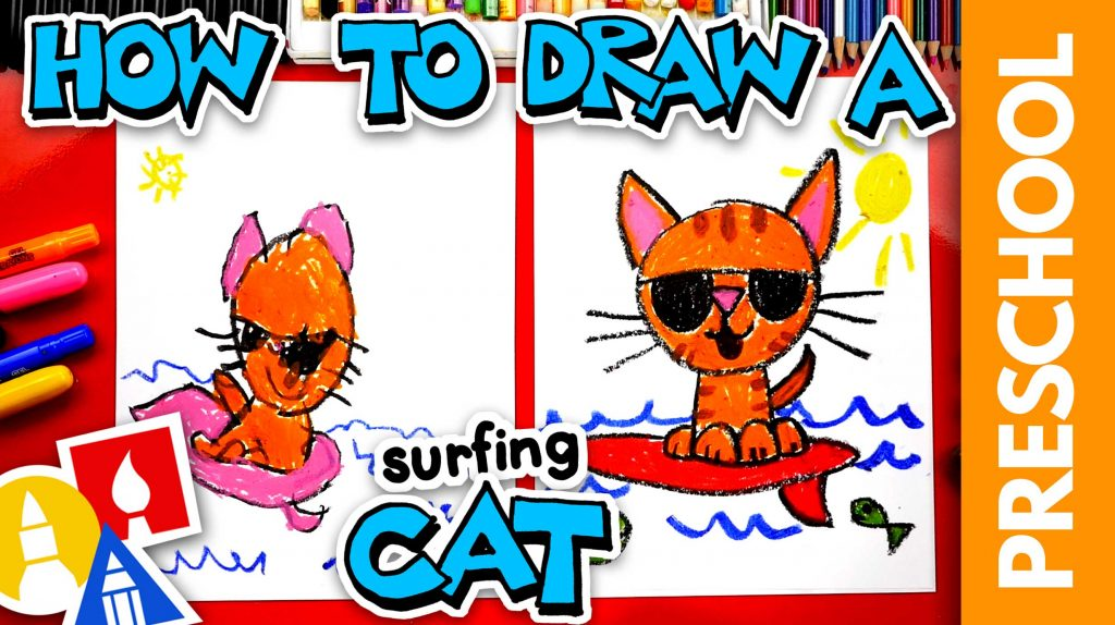 How To Draw A Cat Surfing – Preschool
