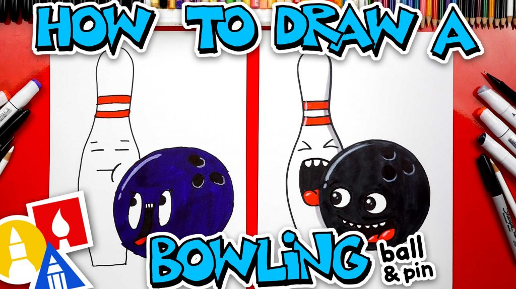 How To Draw A Funny Bowling Ball And Pin