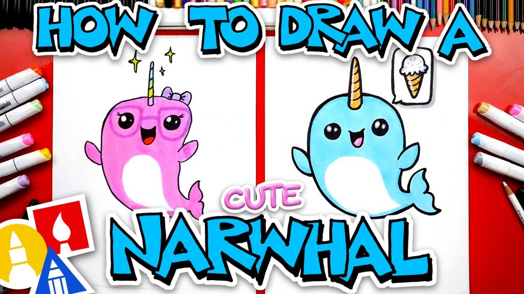 How To Draw A Cute Cartoon Narwhal