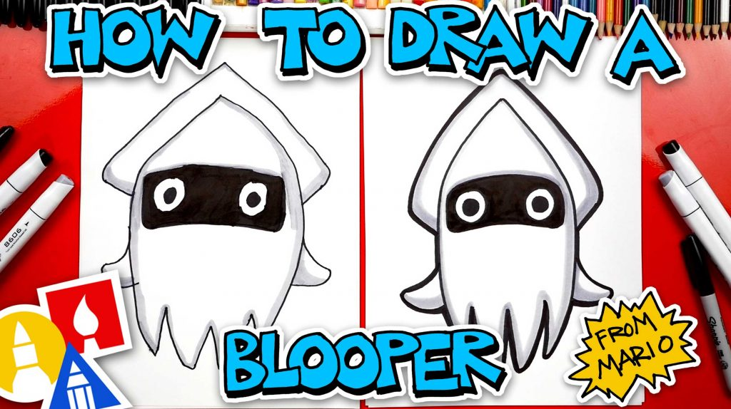 How To Draw A Blooper Squid From Mario