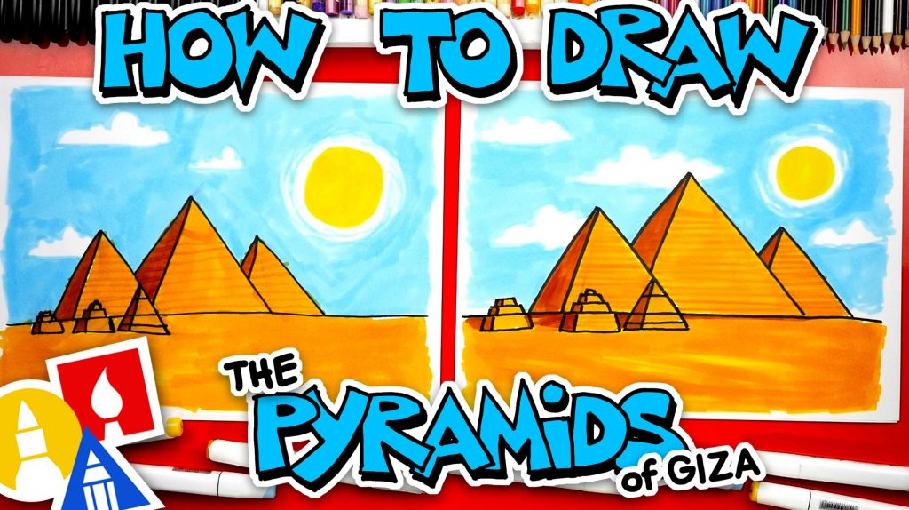 How To Draw Egyptian Pyramids Of Giza