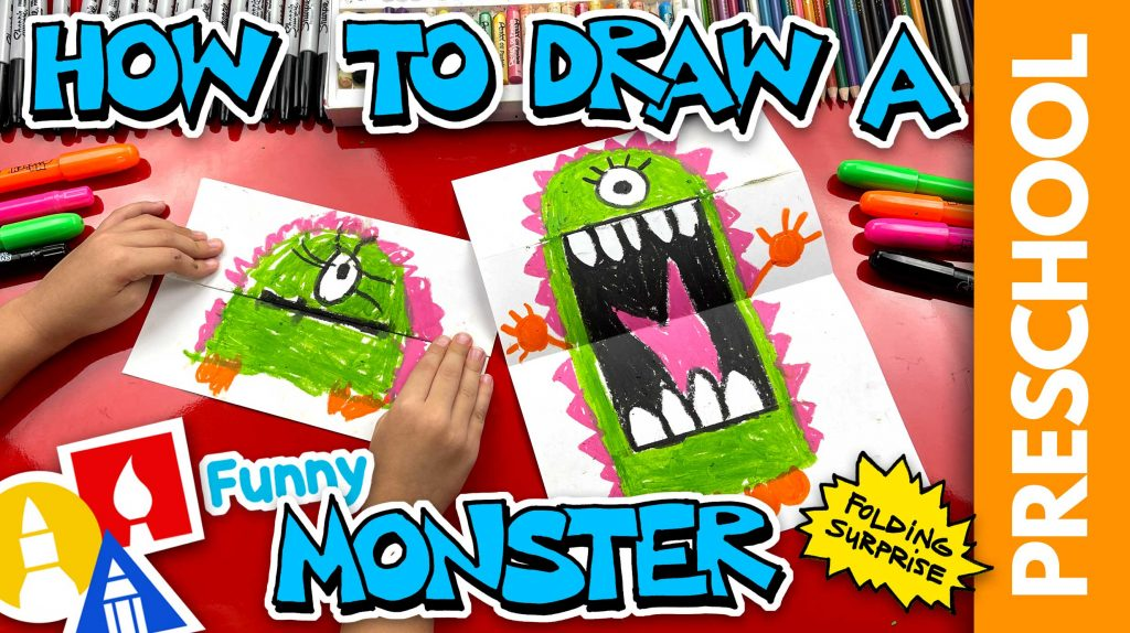 How To Draw A Funny Monster Folding Surprise – Preschool