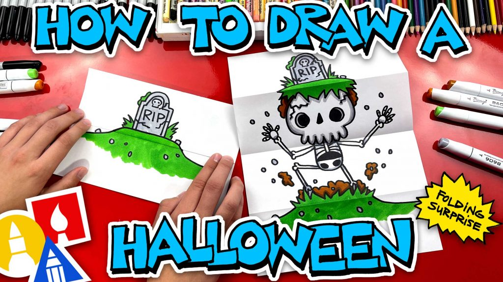How To Draw A Halloween Folding Surprise (Skeleton Grave)